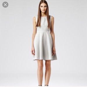Reiss Natalie Ice Gray Textured Houndstooth Dress
